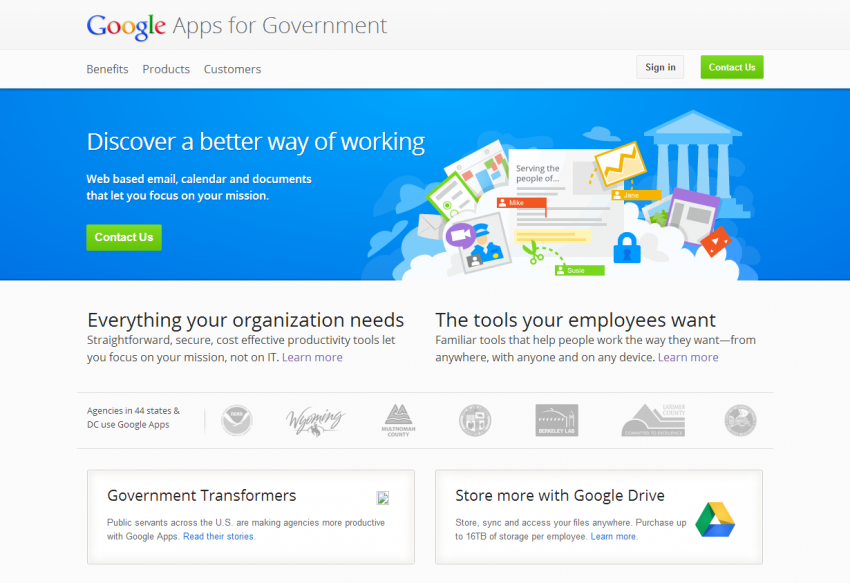 Screenshot, http://www.google.com/enterprise/apps/government/