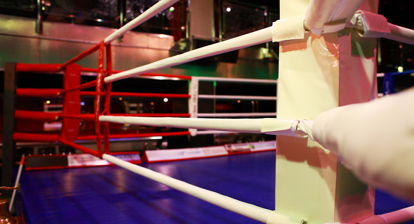 Boxing ring photo via Shutterstock