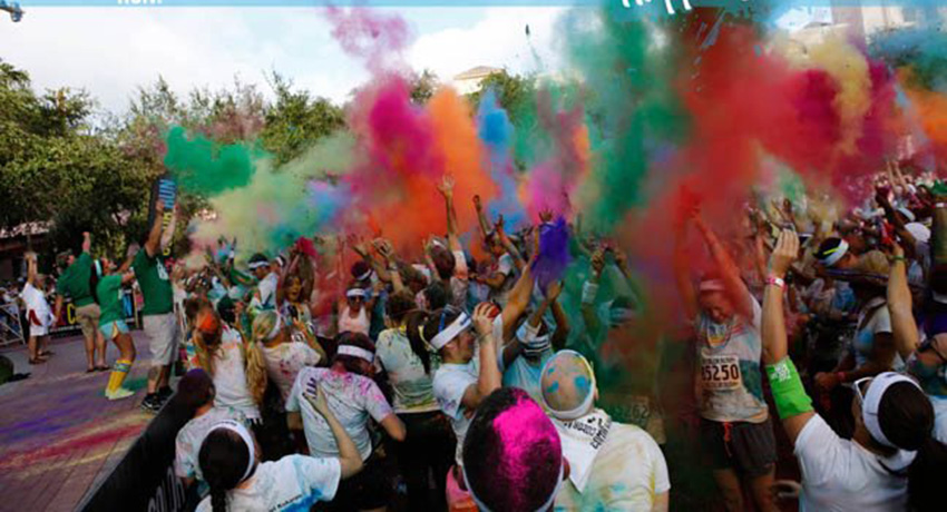 Color runners going through the 'Color Zone' in Fort Lauderdale. Photo via Facebook.