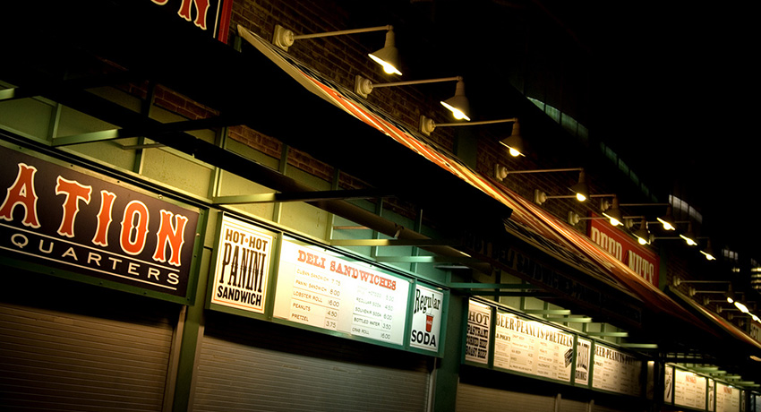 Yawkey Way concessions at night. Photo via Flickr/kcshearon