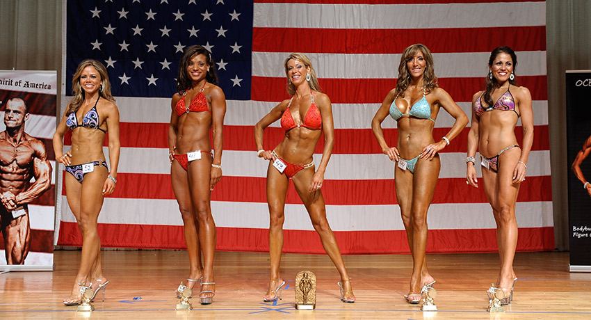 a bikini competition. Maureen is far left. Photo provided by JJS Photo Design.