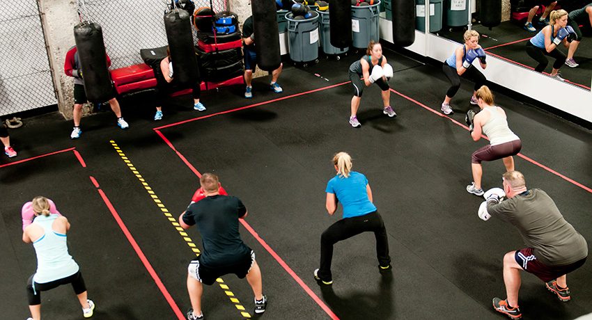 Squats, push-ups, and burpees in addition to hitting the heavy bag. (Photo Provided.)