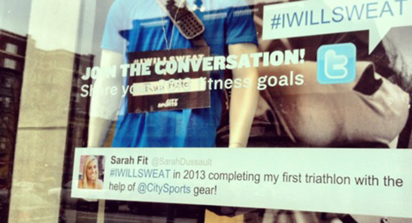 Sarah is a social media star as well. This was on the window at City Sports Downtown Crossing.