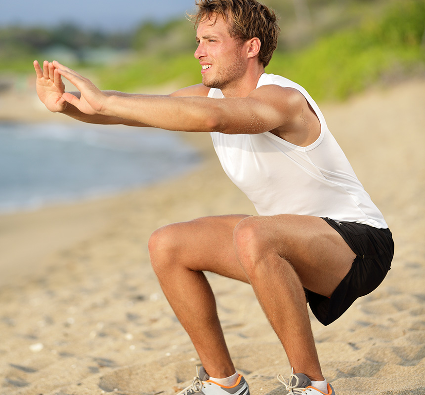 Squats on the beach. Photo via Shutterstock
