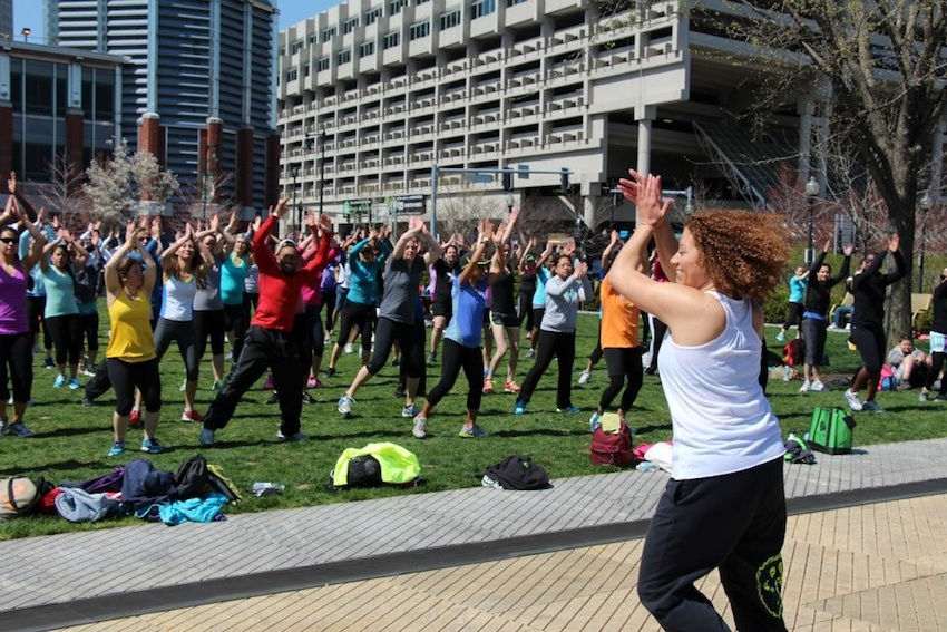 Andrade leads a Zumba fitness class outdoors. Photo provided.