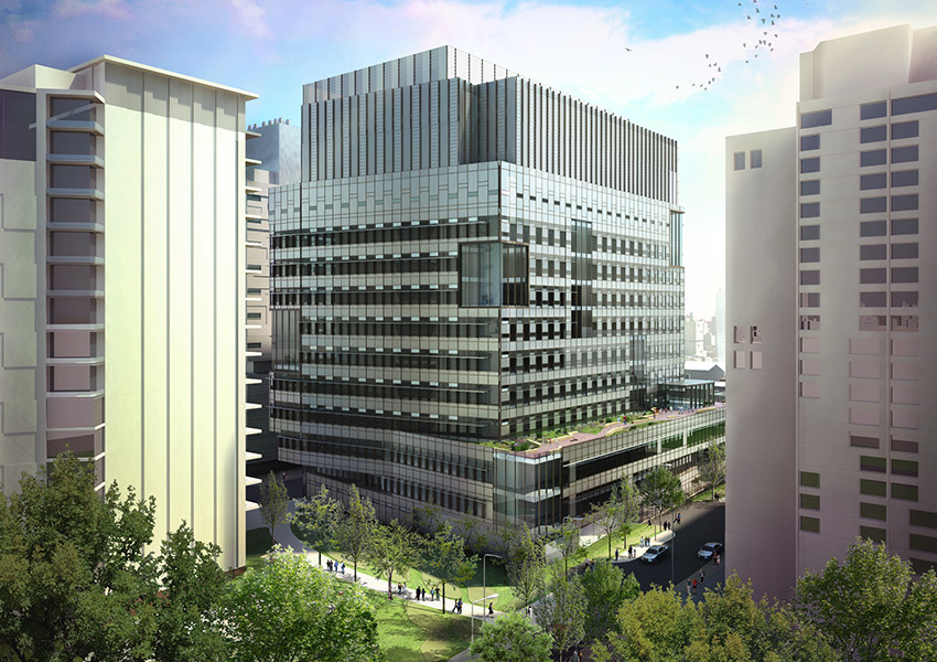 An artist's rendering of the new 'Brigham Building for the Future' on the BWH campus. Image provided.