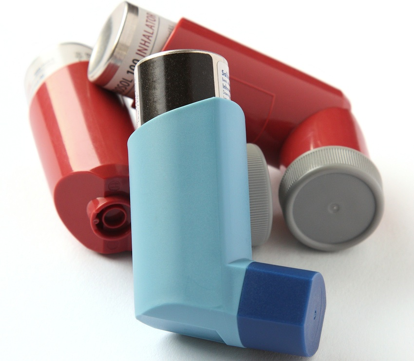 Inhalers are a common form of treatment for asthma attacks. Asthma inhalers image via Shutterstock.