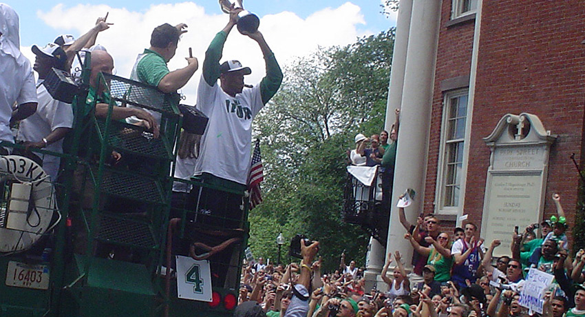 Paul Pierce celebrating with his Finals MVP Trophy. Photo via Flickr/Michael Femia