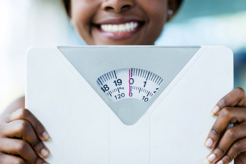Weight loss is likely a combination of your thoughts, your actions, and the support system around you, Quintiliani says. Weight scale image via Shutterstock.