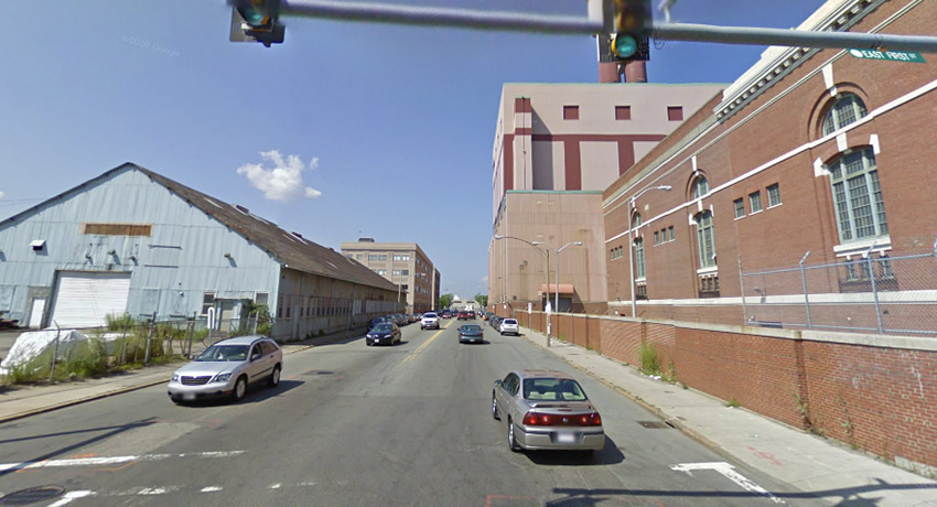 The YMCA proposed location is on the left. The right is the long-closed, old Edison power plant. Photo via Google Maps.