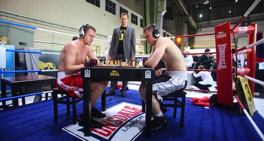 Chessboxing is for real. Chessboxing photo via Paul Precott/Shutterstock.