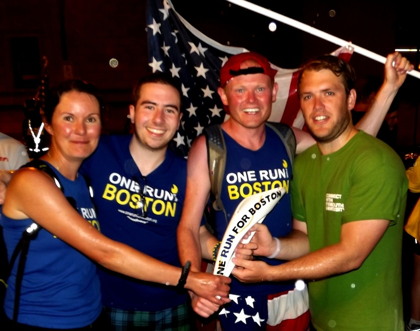 on Parlby with One Run for Boston organizers Kate Treleaven, Jamie Hay and Danny Bent.