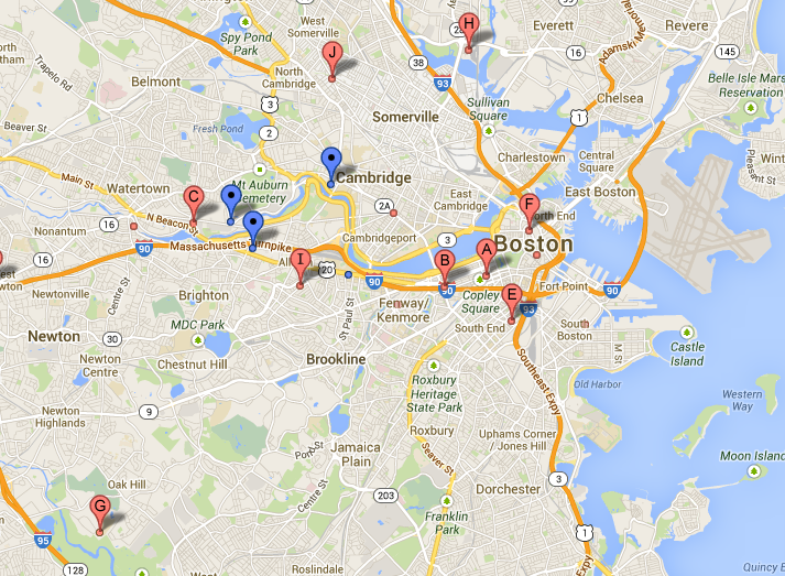 Map of Boston Sports clubs via Google Maps