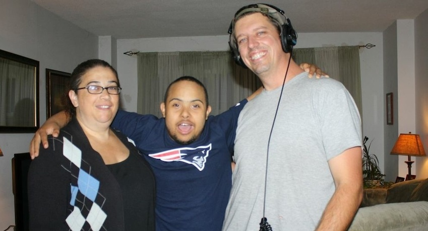 Angela and Isaiah pose with one of the cameramen who helped arrange the My Great Video Story project.