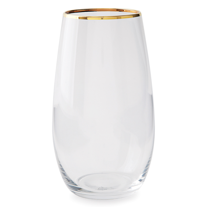stemless gold rimmed glassware