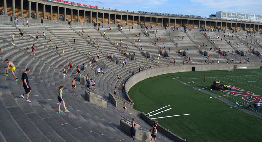 Can you believe all those people are working out at 6:30 a.m.? Harvard stadium photo via November Project Facebook.