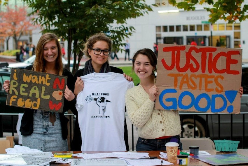 Students petitioning for the Real Food Movement last October will get their wish this fall as Northeastern joins the program. Photo via Real Food Northeastern Facebook.