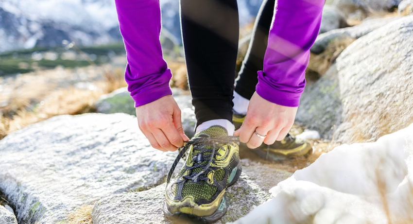 Zimmerman says that you can put about 300 miles on your shoes before you replace them. Running Shoes image via Shutterstock.