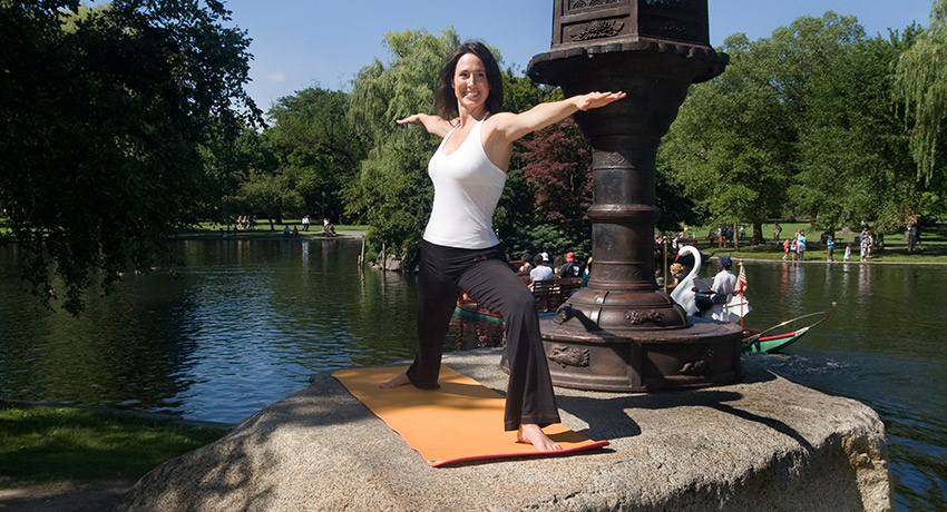 Sara doing yoga in the Public Garden. Photos provided by Annie Pickert Fuller.