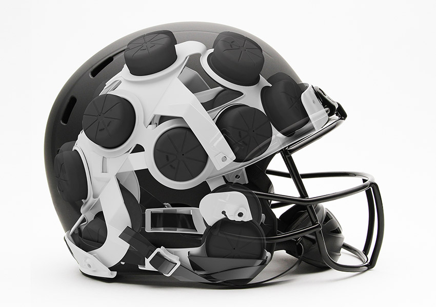 A look inside the mini airbags inside the helmet. Photo provided.