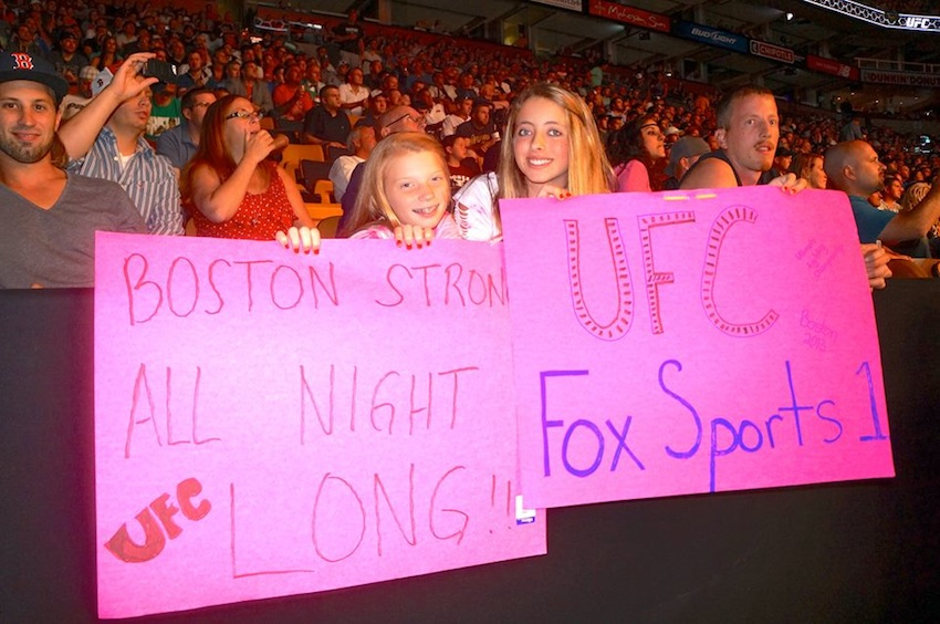 Two girls attended the UFC fight in Boston/Photo via Facebook.com
