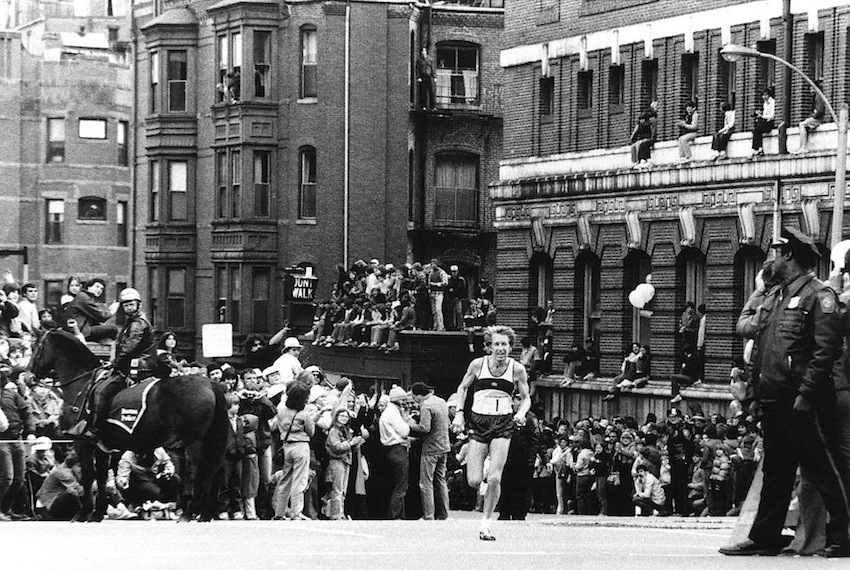 Bill Rodgers running the 1975 Boston Marathon. Photo via Facebook.