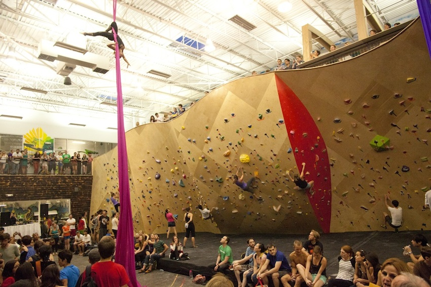 During their grand opening, Brooklyn Boulders Somerville had arial dancers. Photo by Stephanie Crumley, provided by BKB Somerville.