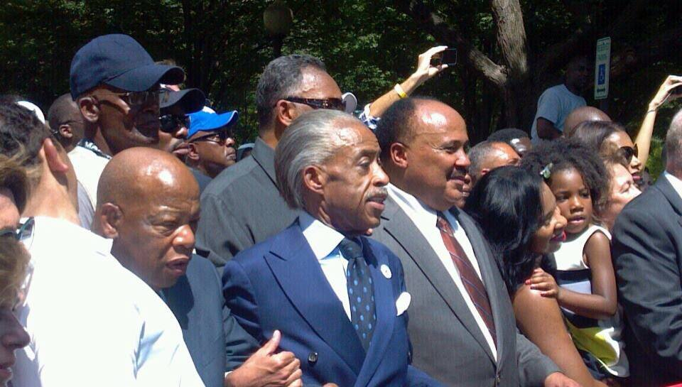(From left to right) John Lewis, Rev. Al Sharpton, Martin Luther King III and Jesse Jackson behind them / Photo by Rev. Talbert Swan
