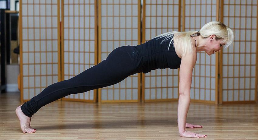 Pilates push-up. All photos provided by Julie Erickson at Endurance Pilates and Yoga.