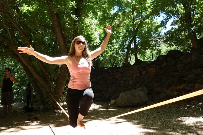 Fieberg's wife, Laura, demonstrates a slacklining move during a workshop. Photo provided.