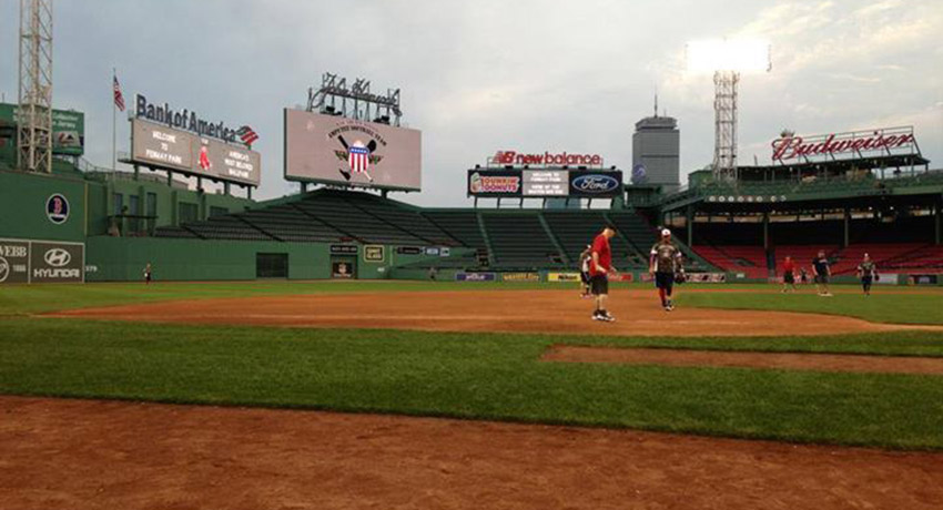 Softball game at Fenway image via Facebook.