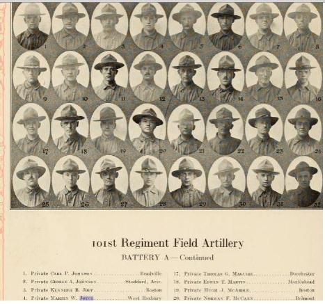 Joyce's WWI regiment. He's pictured fourth.