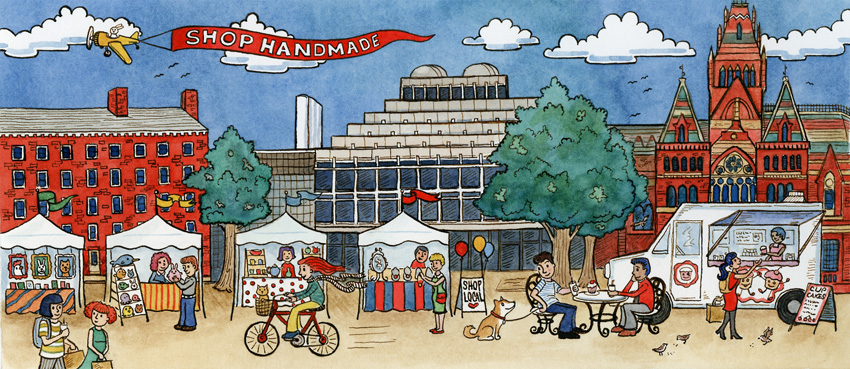 Illustration of the Cambridge Market by Carrie Wagner of Sepia Lepus (Photo provided).