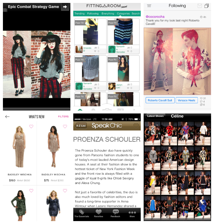 Top row: Screenshots from Chic Feed, Fitting Room Social, and Pose; Bottom row: Screenshots from Rent the Runway, Speak Chic, and Style.com
