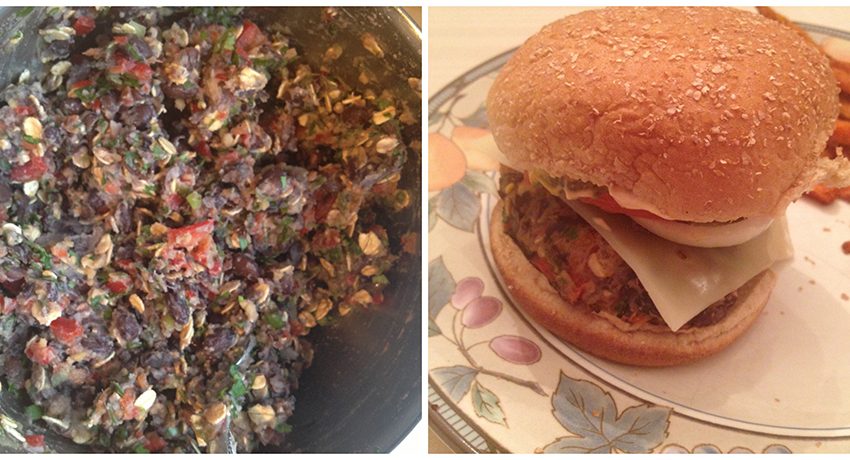 Black bean burger mix and final product.