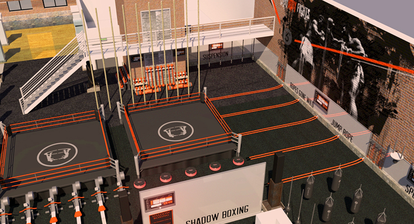 Rendering of the new mega-gym. Image provided.