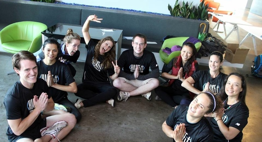 One team celebrates after their final pitch session. Image via HackFit Facebook.