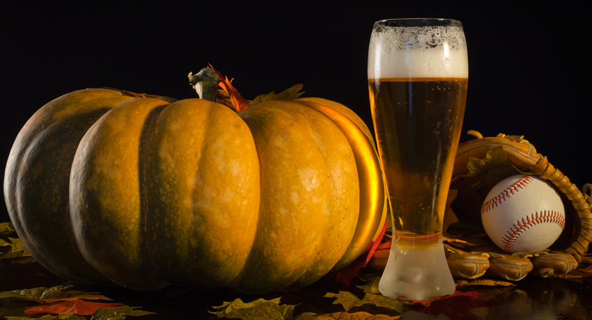 You are what you eat. Pumpkin, beer, and baseball photo via Shutterstock.