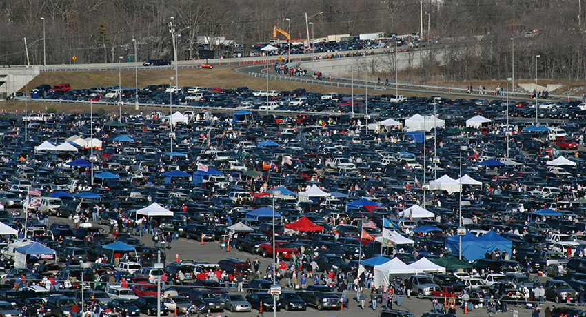 Tailgating outside Gillette. Go Pats! Tailgating photo via Shutterstock.