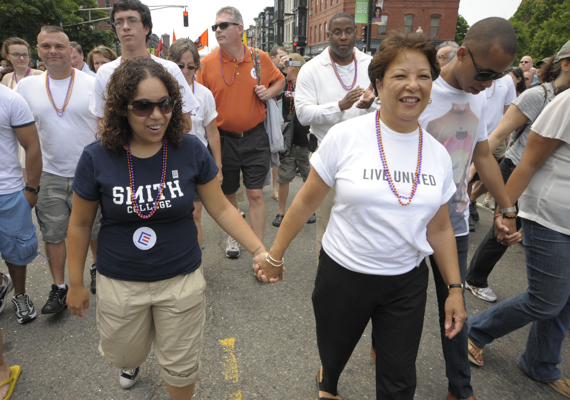 Katherine Patrick, left, holds hands with her mother, Diane Patrick. / File Photo via AP