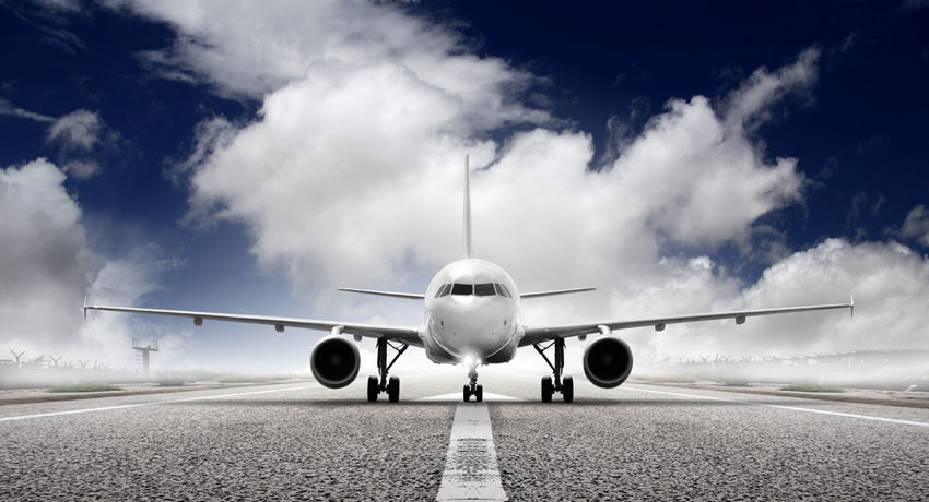Airplane takeoff image via shutterstock