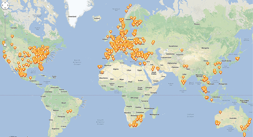 This map shows where the votes are coming in from all over the world. Map provided by Brigham and Women's Hospital.