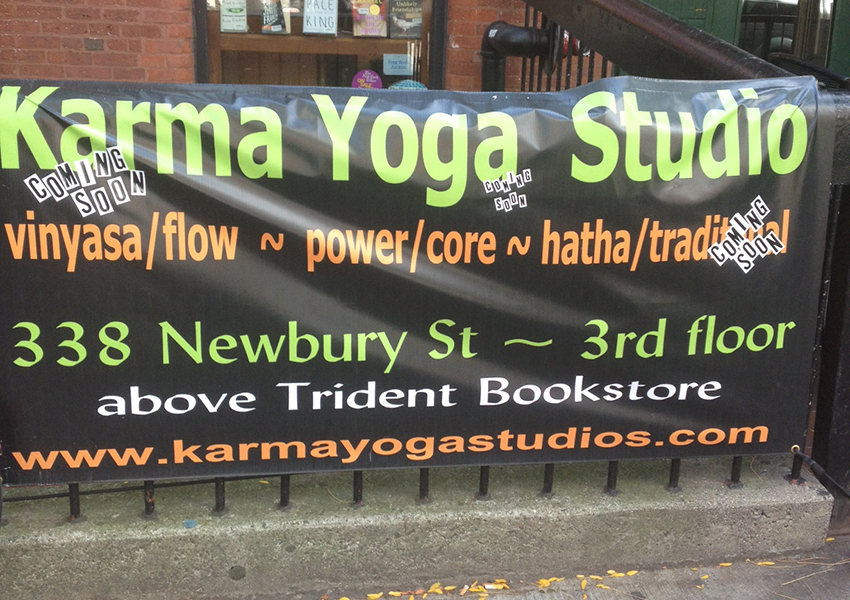 Karma Yoga sign on Newbury St.