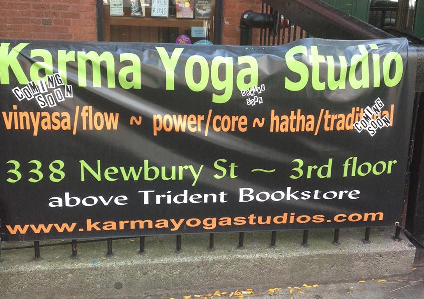 Karma Yoga sign on Newbury St.