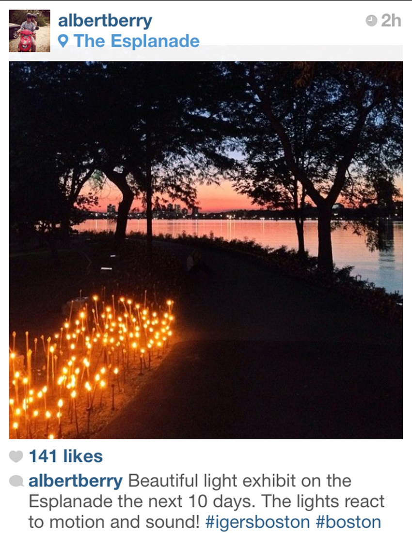 One of Boston's most popular IGers captured this shot Tuesday night on the Esplanade. The exhibit begins Thursday.