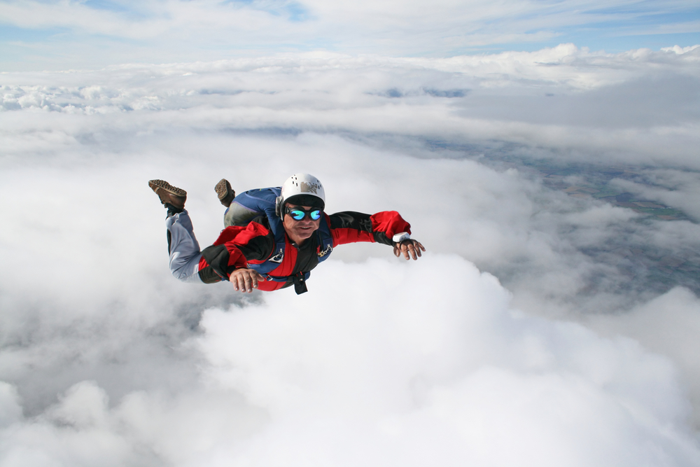 Sky diving photo via Shutterstock