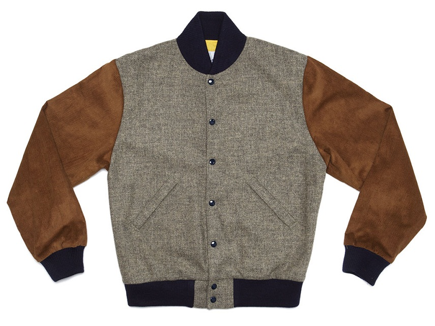 """Oxford"" tweed and corduroy varsity jacket, $318, Bodega, 6 Clearway St., Boston."