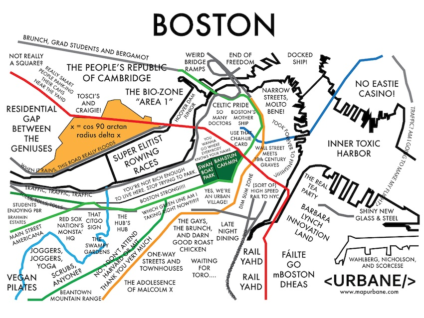 Urbane Boston Map Company Labels Neighborhoods By Stereotype