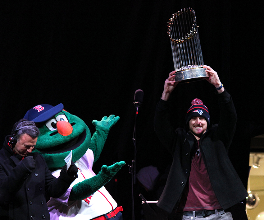 faneuil hall blink tree lighting wally will middlebrooks world series trophy