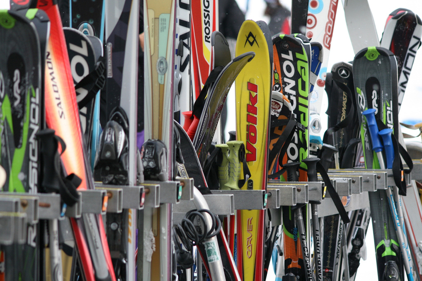 Skis on a rack